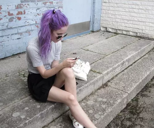 girl, purple hair, and grunge style image