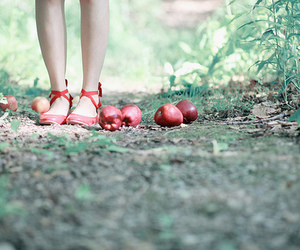 apple, girl, and red image
