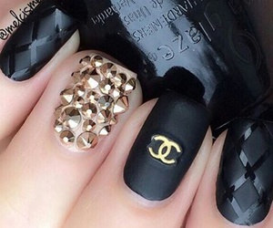 nails, black, and chanel image