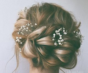 blonde hair, flowers, and hair style image
