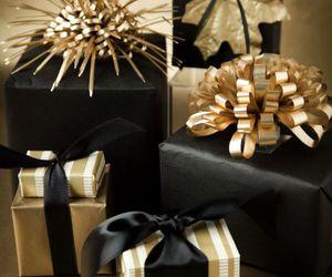 christmas, black, and gold image