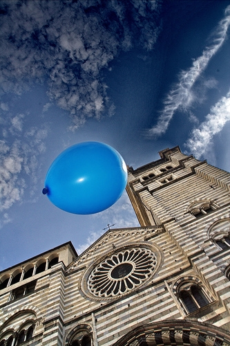 balloon, blue, and sky image