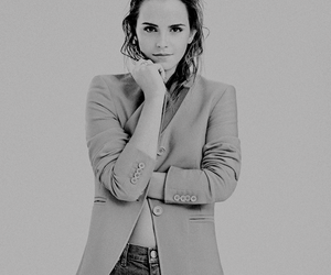 black and white, emma watson, and hermione granger image
