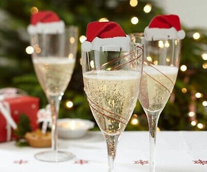 christmas, champagne, and drink image