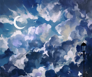 art, moon, and clouds image