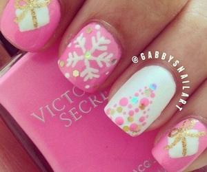 nails, christmas, and pink image