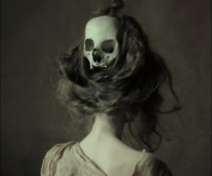 skull, hair, and black and white image
