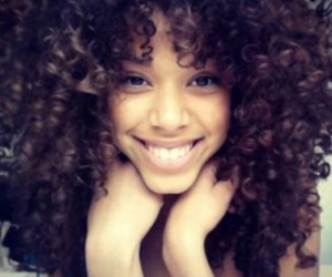 curly hair, hair, and smile image