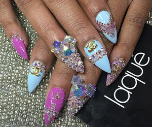 nails, nail jewels, and nail decals image