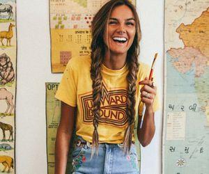 girl, yellow, and hair image