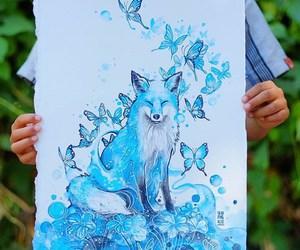 art, blue, and fox image