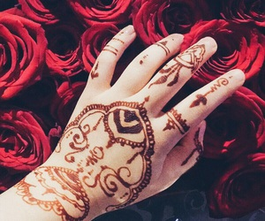 hands, redroses, and henna image