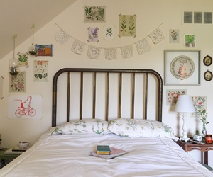 room, bedroom, and art image
