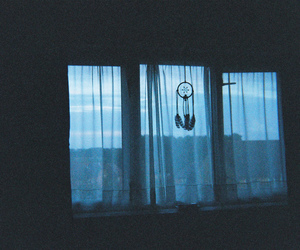 window, blue, and dreamcatcher image