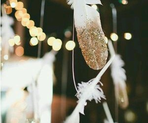 feather, glitter, and gold image