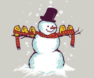art, birds, and snowman image
