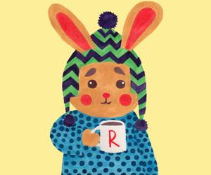 art, beanie, and rabbit image