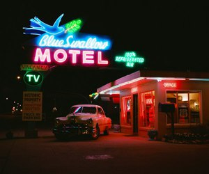 motel, night, and photography image