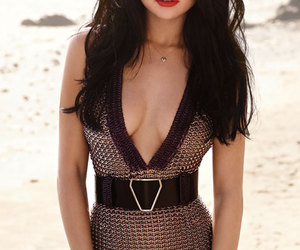 beautiful dress, selena gomez, and hot red lips image