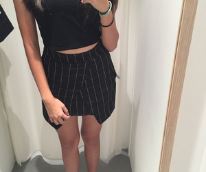 black, checkered, and clothes image