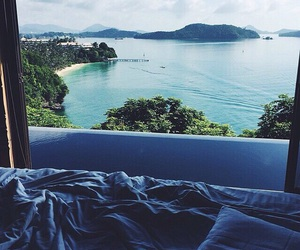 bed, sea, and view image