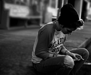 boy, black and white, and beanie image