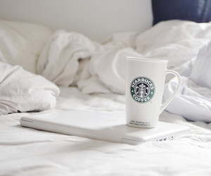 starbucks, white, and bed image