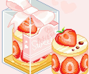 pixel art, food, and kawaii image