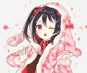 black hair, red eyes, and snow image