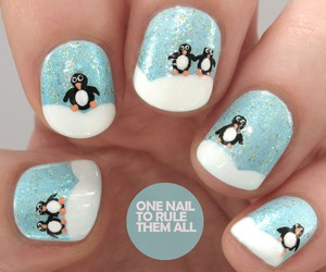 penguin, nails, and snow image