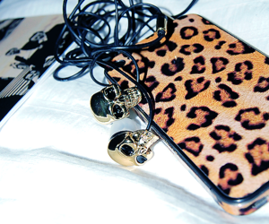 iphone, skull, and leopard image