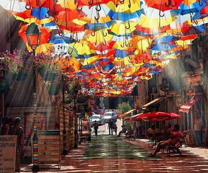 umbrella, street, and colors image