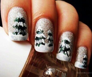 nails, christmas, and winter image
