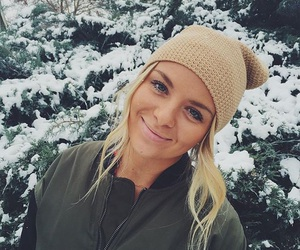 blonde, hat, and snow image