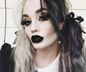 makeup, black, and goth image