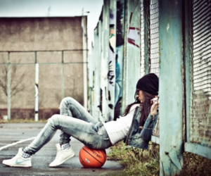girl, Basketball, and swag image
