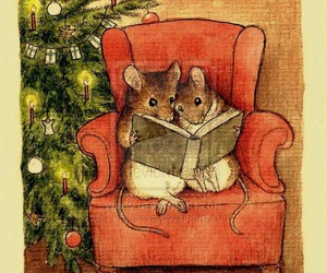 christmas, mouse, and reading image