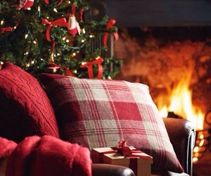 christmas, winter, and fireplace image