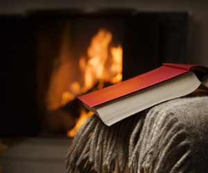 book, autumn, and fireplace image