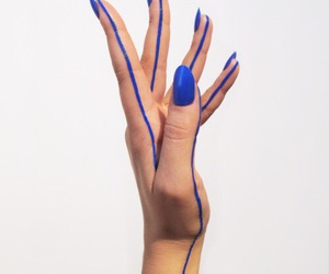 'blue', 'hands', and 'nails' image