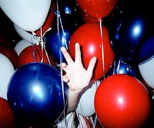 balloons, hand, and party image