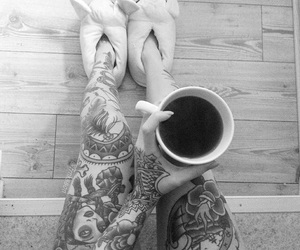 black and white, ink, and coffee image