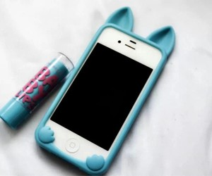 iphone, blue, and baby lips image