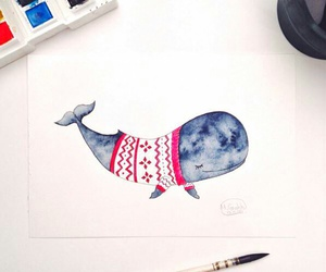 whale, drawing, and sweater image