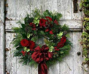christmas, wreath, and door image