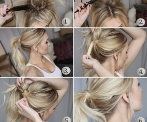 ponytail, tutorial, and cute image