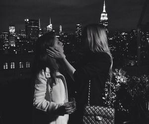 city, girl, and kiss image