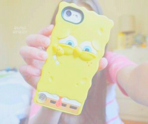 spongebob, yellow, and iphone image