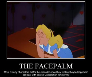 alice in wonderland, disney, and facepalm image