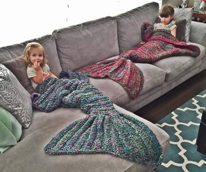 mermaid, kids, and blanket image